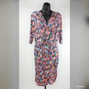 Leota Multi-Color Printed Faux Wrap Dress